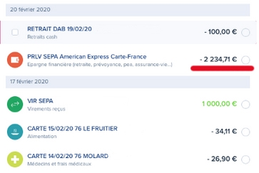 Virement vers Amex