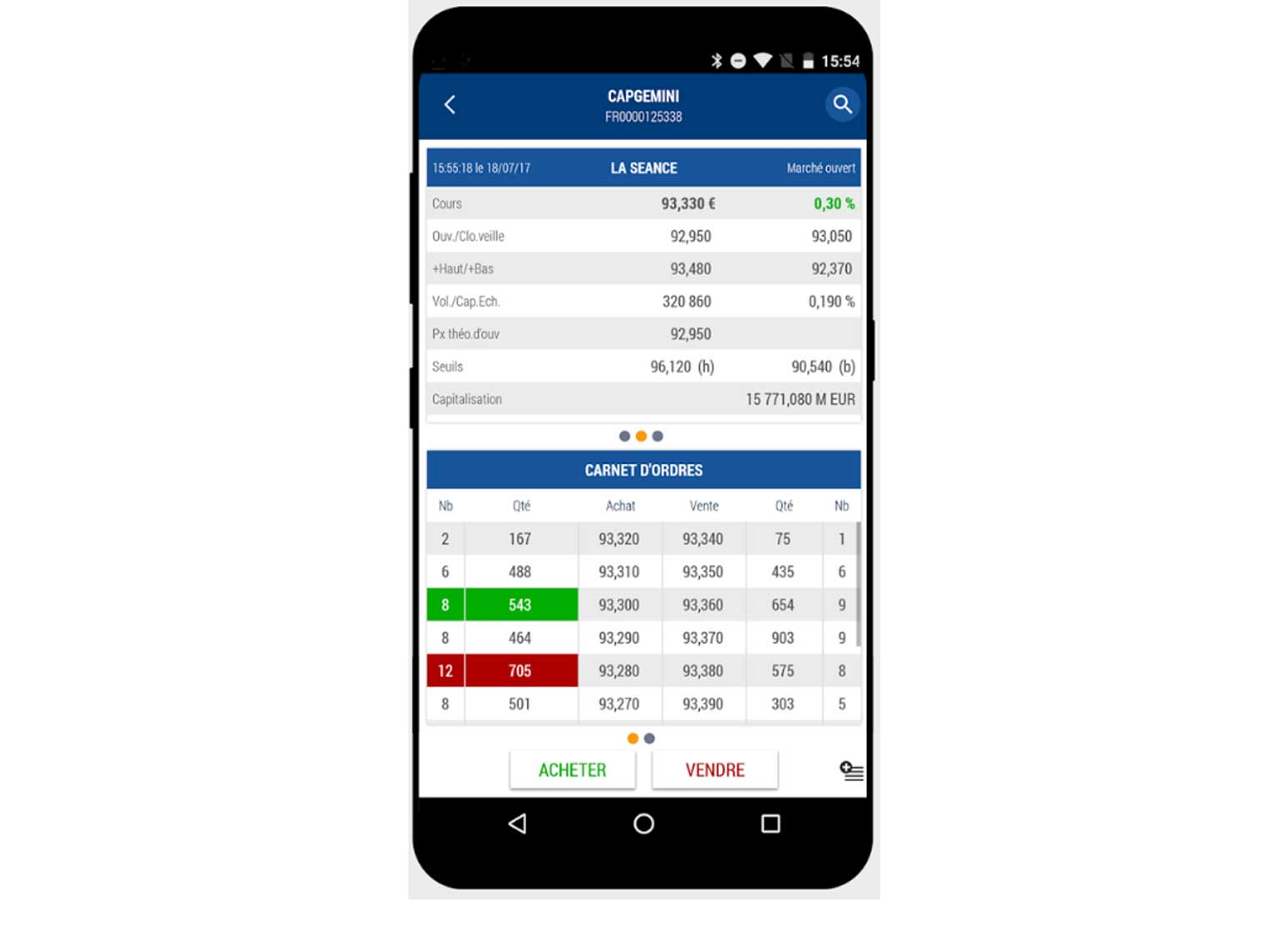 Application mobile Bourse Direct