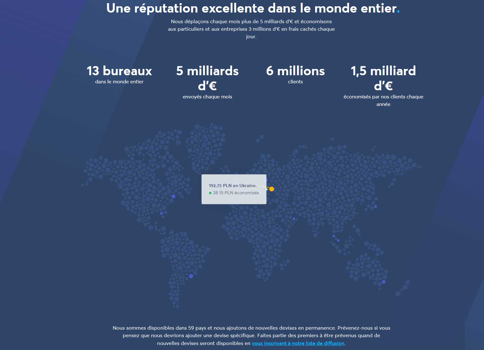 Couverture mondiale Transferwise